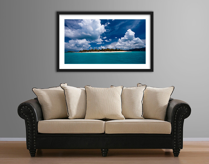 Living room with fine art print