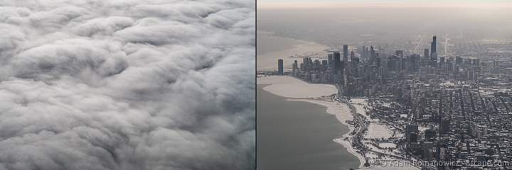 Gray clouds over the frozen Chicago Skyline