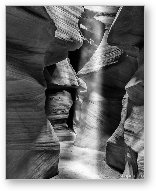 Antelope Canyon Light Beam Black and White