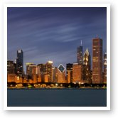 Buy Print of Chicago Skyline at Night Panoramic Wide
