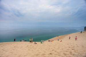 Beach goers at Sleeping Bear Dunes