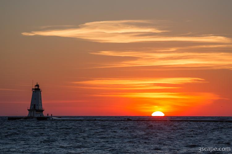 Ludington North Breakwater Light at Sunset