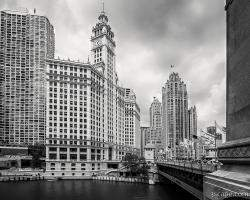Wrigley Building Chicago Black and White