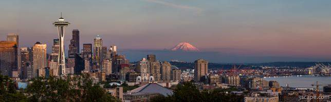 Seattle Skyline and Mt. Rainier Panoramic HD