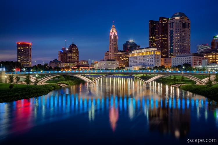 Columbus Ohio Skyline At Night Photograph Fine Art