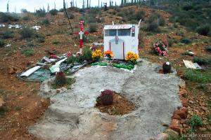 Memorials like this were also common along Mexico's highways (ph
