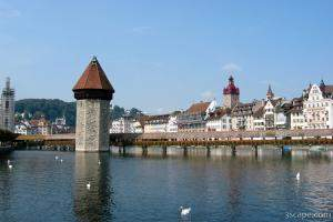 Chapel Bridge and Water Tower on Reuss River