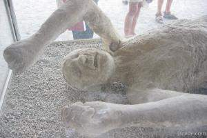 Plaster cast of body as it was when Pompeii was covered in hot a