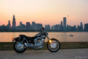 Virago 535s and Chicago Skyline