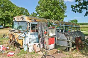 Old school bus at Richard\'s Canoe Rental and Campground