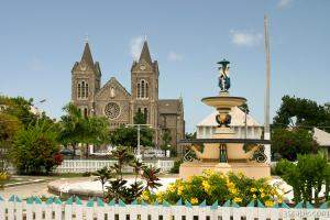 Catholic church and Independence Square, Basseterre
