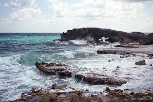 The Atlantic side of Cozumel is rocky with many natural bridges