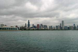 Shedd Aquarium and Skyline on a cloudy day