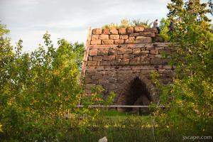 The ruins of an old iron furnace (Bay Furnace Campground)
