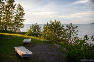 Benches looking out on Lake Superior