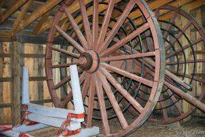 An old logging wheel and sliegh