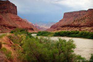 Colorado River, Canyon, and Fisher Towers in the far center