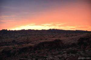 Sunset over Arches National Park