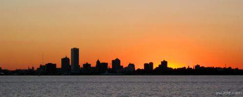 The Milwaukee skyline at sunset