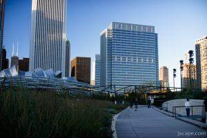 Lurie Garden, and pavillion in the background