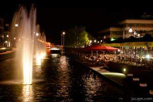 Fountains and riverside restaurants