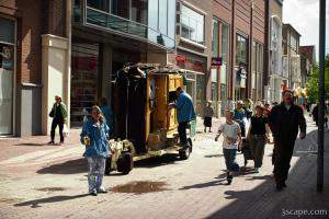 Street performers with a musical trailer