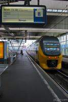 Intercity train pulling into Amsterdam Central station