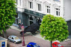 Giant crow attacking a store front