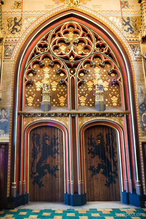 Ornate gold doors of the town hall