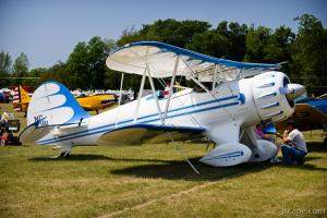 White and Blue biplane