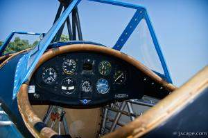 Open cockpit of a biplane