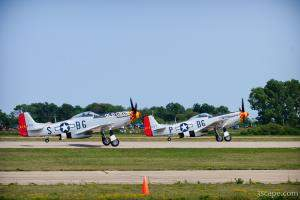 P-51D Mustangs 'Old Crow' and 'Gentleman Jim' on formation take-