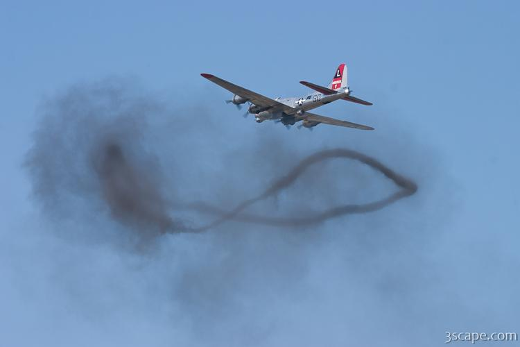 427cf1a773f B-17 Flying Fortress over a smoke ring from bombing run. Fine Art Metal  Print