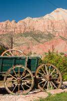 Wagon and Zion's red rock