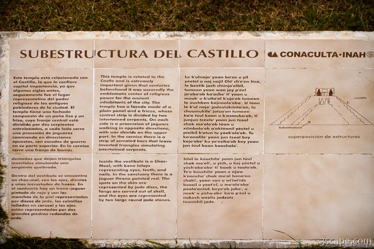 Plaque describing the substructure inside El Castillo