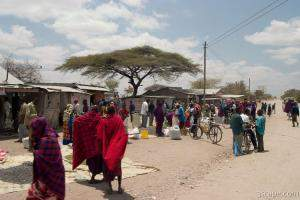 Maasai people and locals in a small town near Arusha