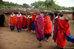 Group of Maasai women welcoming us to their village