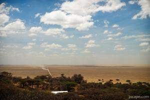 The long dusty road leading into Serengeti National Park