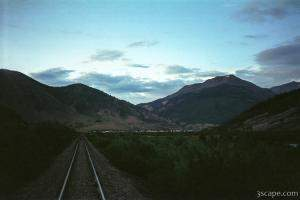 Silverton in the distance along the train tracks