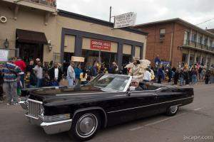 Krewe of Iris King in an old caddy