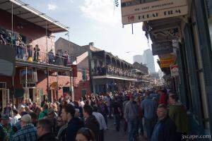 Bourbon Street filling up with people