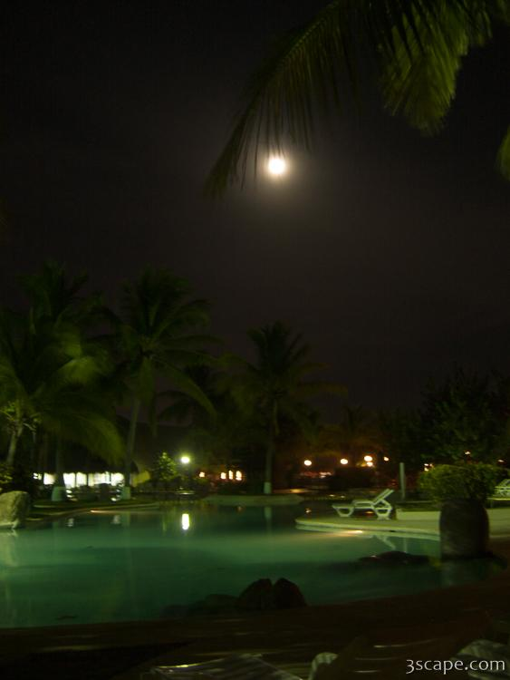 Moon light over the pool