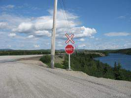 One of many railroad crossings between Gagnon and Fire Lake