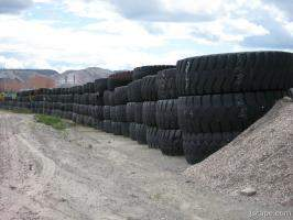 Huge truck tires from mining operation