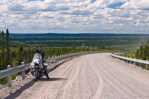 Motorcycling in the vast Canadian wilderness