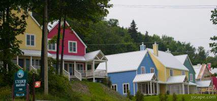 Colorful houses in St. Irenee, Quebec