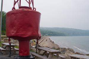 Big red buoy in St. Irenee, Quebec
