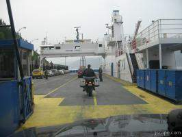 Getting on a ferry at Tadoussac, Quebec