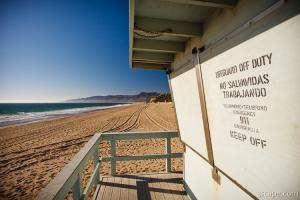 California Lifeguard shack at Zuma Beach