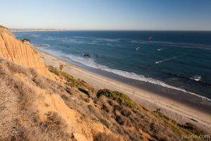 Kite boarding on the southern California coast